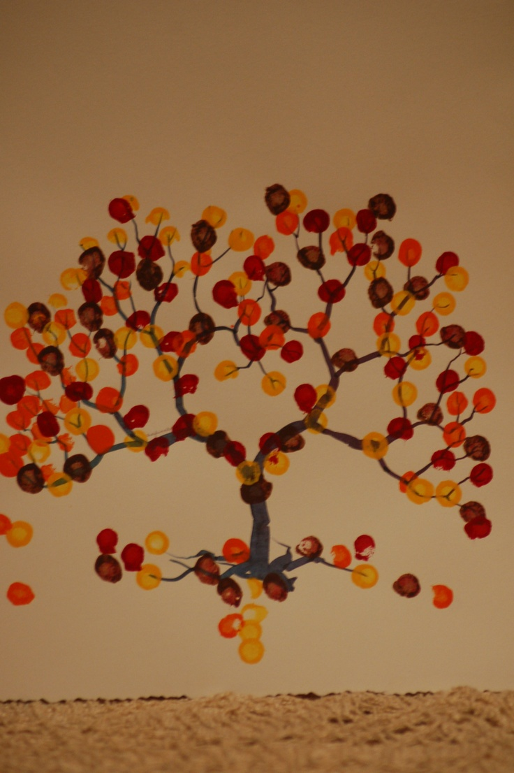 Fall Tree Q-Tip Painting can do this on the hand corn project or even