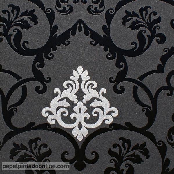Papel pintado flock 4 95538 1 papel con fondo negro en - Papel pintado plateado ...