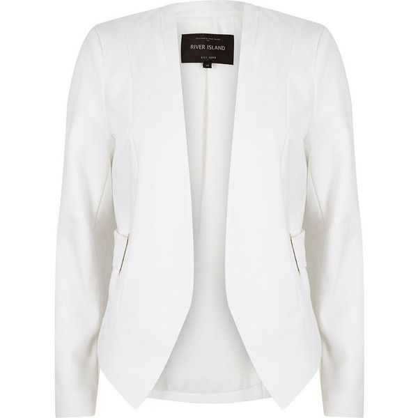 River Island White eyelet side collarless blazer ($82) ❤ liked on Polyvore featuring outerwear, jackets, blazers, eyelet blazer, woven jacket, eyelet jacket, white jacket and white fitted blazer