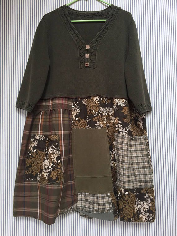 Upcycled Plus Size Patchwork Sweater Dress Olive Green