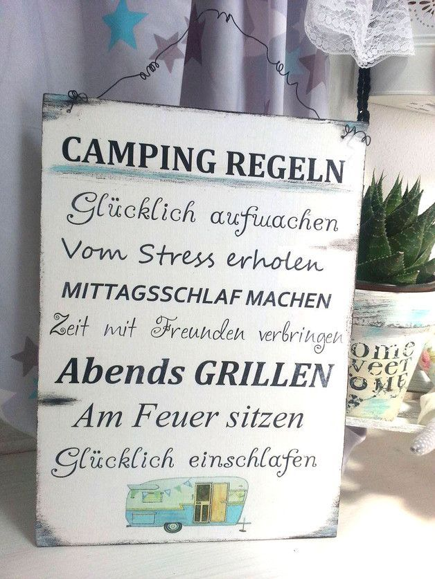 Camping rules wooden sign in shabby vintage style