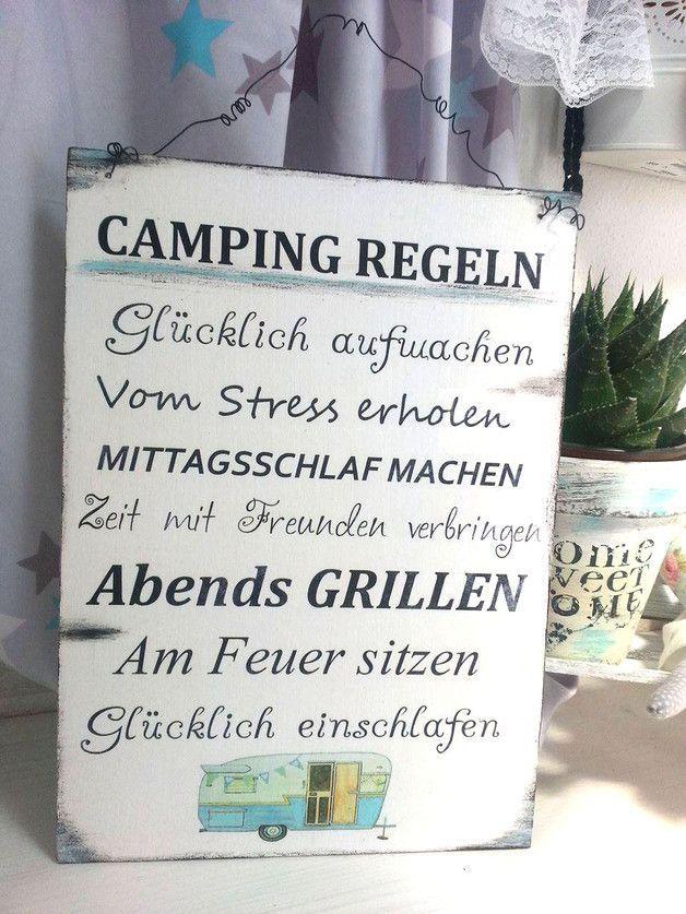 Camping Regeln Schild Wohnwagen