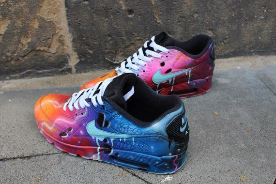 pick up d3806 feb24 Nike Air Max 90 Blue Galaxy Style Painted Custom Shoes Sneaker   Etsy