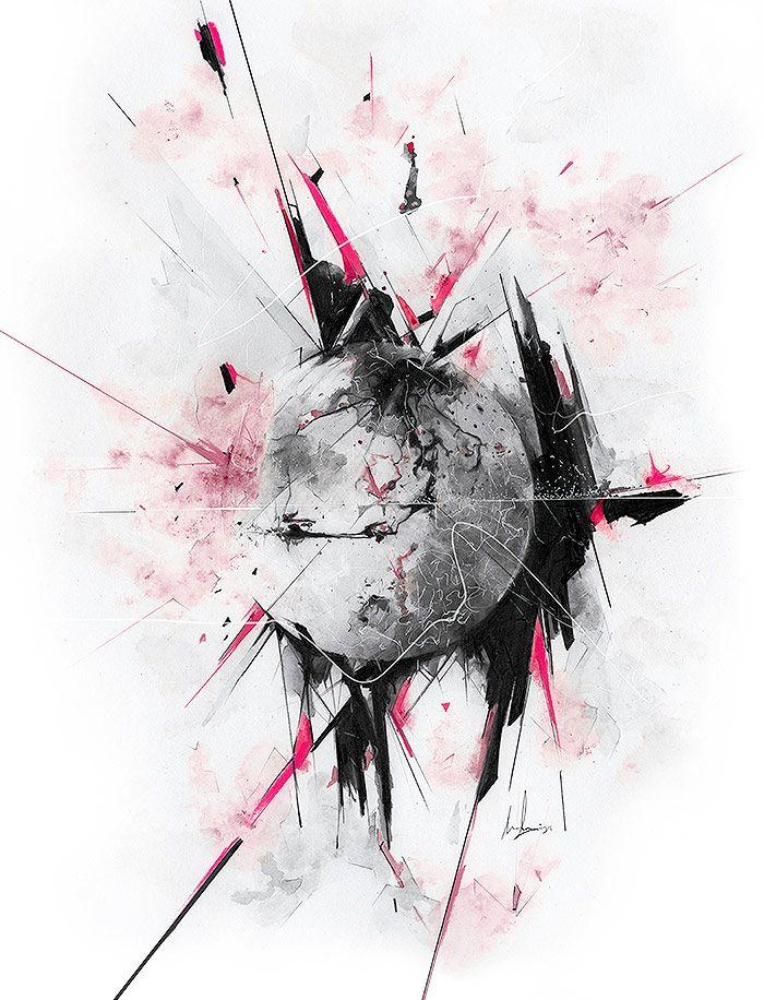 Luna con efecto de fracmentacion acuarela pero con trazos ideales en rojo y negro rodeandola