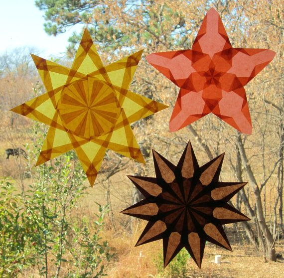 3 Waldorf Window Stars in Spicy Fall Colors of Gold, Orange, and Brown (Set of 3 Stars)