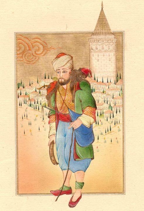 Serap Derinkök 'Maymun Oynatıcı' Minyatürüm ( İstanbul, Raif Aydın çalışmasıdır)