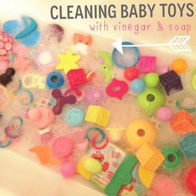 the Three Little Birdies: Cleaning Baby Toys  |  To clean toys I fill up our bath tub with very warm/hot soapy water. Again, I use the Palmolive Baby Soap and add enough to make the water pretty sudsy. I add a splash of white distilled vinegar, for a naturally sanitizing option (rather than bleach) and then dump all the toys in and let them soak for about 30 minutes. Then drain the water, rinse everything off and let them sit out to dry.