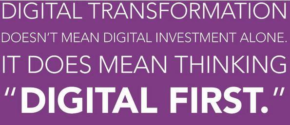 """""""Digital Transformation is the next big thing. And the next big thing is BIG!"""" Digitale transformatie heeft invloed op iedereen en in alle sectoren, in welke rol dan ook, of het nu marketing, HR, PR, productontwikkeling etc etc is. Het is noodzaak om te investeren in de digitale transformatie. Duidelijke uitleg in een infographic"""