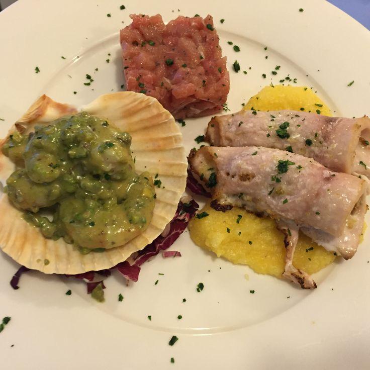 Gamberi in salsa pistacchio-Tartare di Tonno-Involtino di spada con carciofi Hotel Ristorante Vecchia Riva Varese Italy by Tosatti