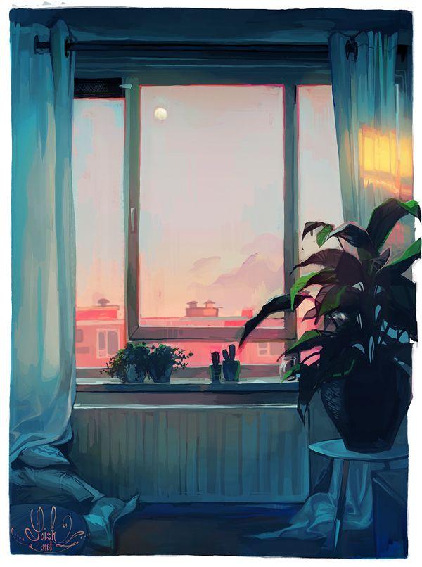 노을, 창문, 집, 색감