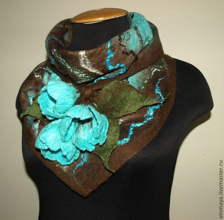 Бактус - бирюзовый,коричневый,валяный шарф,бактус валяный,подарок на любой случай
