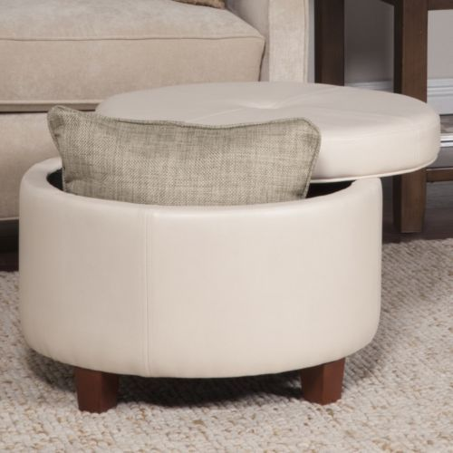 Round-Ottoman-Furniture-Transitional-Large-Solid-Ivory-Storage-Faux-Leather-New