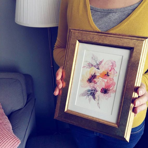Three summer flowers an art print of my watercolor painting //  watercolor // floral home decor Size: 13x17 cm, mini print #watercolorflowers #floralprints #watercolorart #artprints #miniprints
