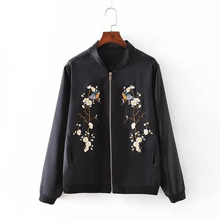 OLGITUM 2016 Harajuku Bird Plum Flower Embroidery New Women Contrast Color Floral Basball Jacket JK268 #Affiliate