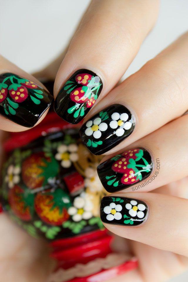 floral strawberry nail art