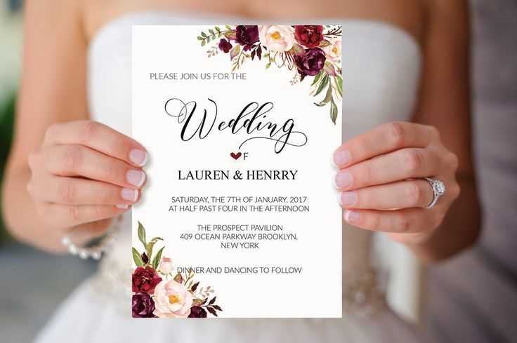 Floral Wedding Invitation Template, Printable Wedding Invites, Burgundy Rose, Rustic Boho Chic, Winter Wedding Invite Set, DIY PDF by aDaySpecial on Etsy https://www.etsy.com/listing/491048711/floral-wedding-invitation-template