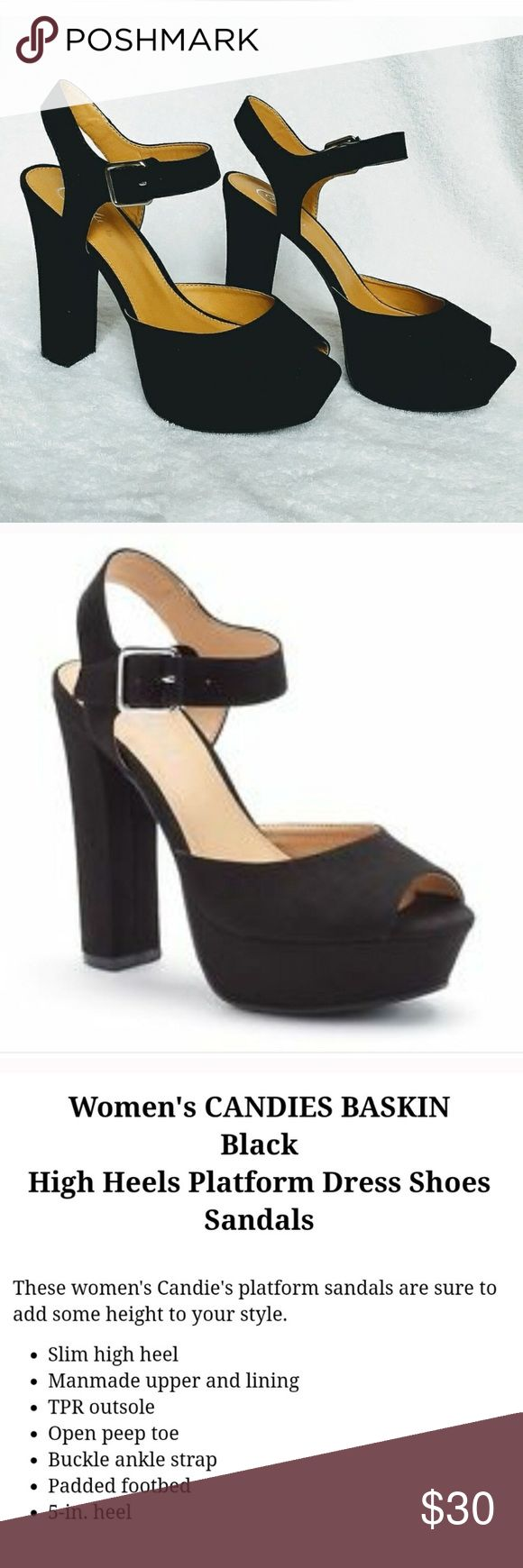 Platform black heels Black suede platform heels. Brand- candies by Kohl's. Listed as Steve Madden for views Steve Madden Shoes Heels