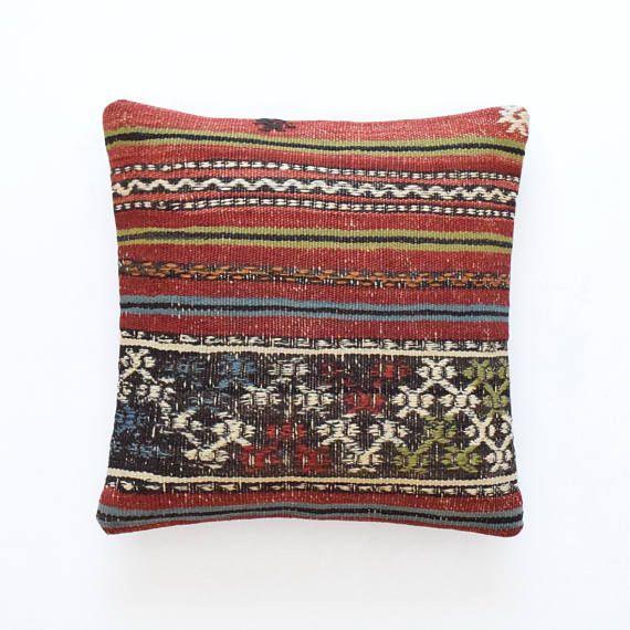 Kilim rug pillow cover 16x16 40x40cm 003