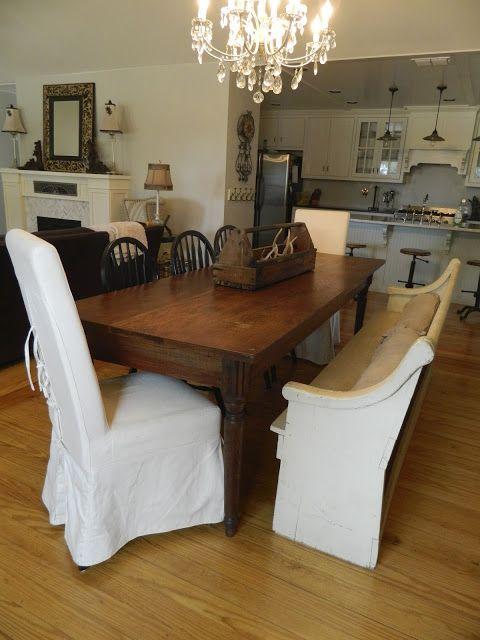 After Dining Room, church pew, harvest table, 1940's chandelier, open floor plan