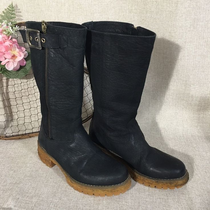 Prune Argentina Black Leather Boots Moto Style Mid Calf Zip Buckle Size 6  | eBay