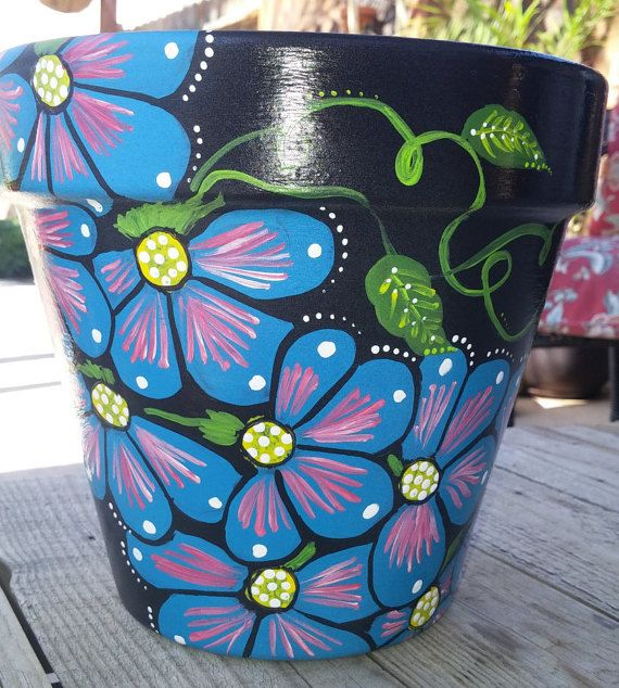 Flower pot hand painted clay pot Sunflower by brilliantexpressions