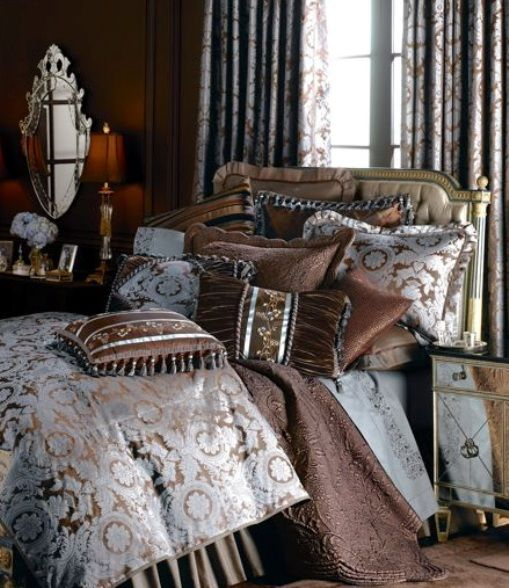 Best Bedding Images On Pinterest Bed Sets Luxury Bedding And - Blue and brown damask comforter