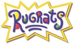 "The word ""Rugrats"" and two small underlines in dark blue written in a child's handwriting, with red, yellow, and green dots, a white background, and a jagged yellow border."