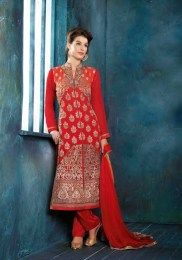 Sizzling Red Color Georgette Salwar Suit For Wedding Occasions