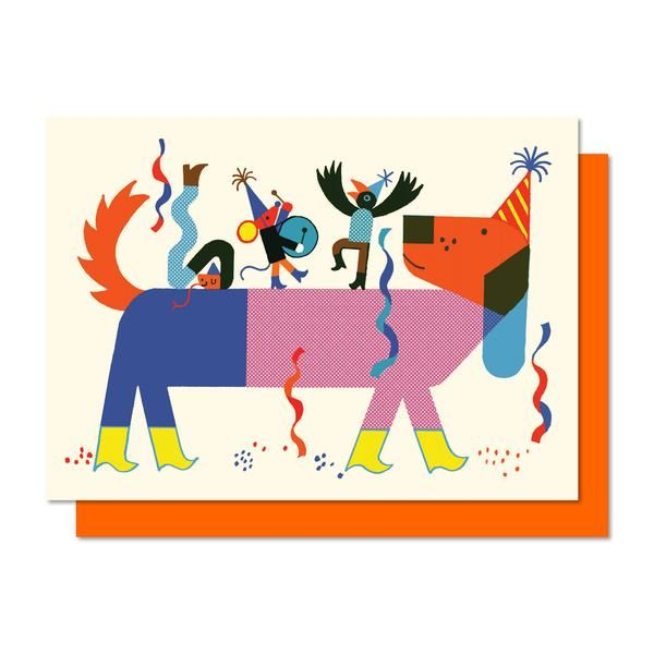 Boom. Dog. Mouse. fête. Annivesary. Carte de souhaits. Greeting card