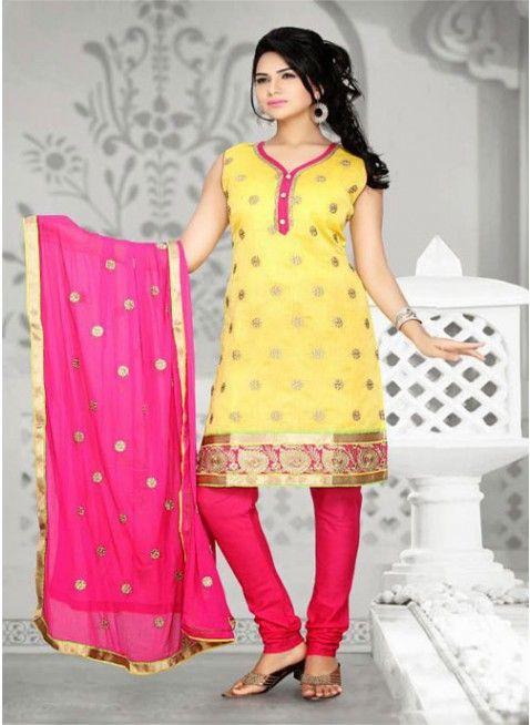 Majesty Yellow Chanderi Cotton Silk #Salwar_Kameez