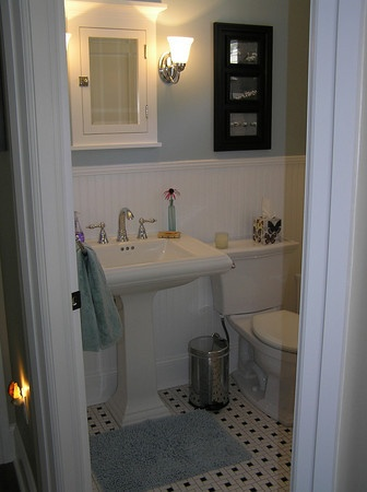 Bead Board Bathroom Black And White Tile Small Bathroom For The Home Pinterest Bead