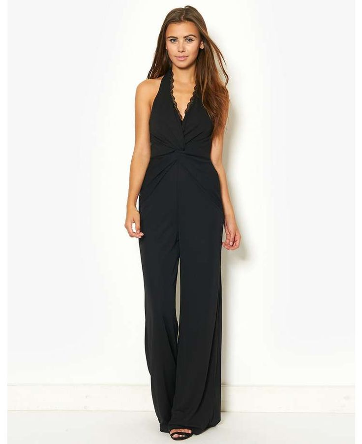 Lipsy Crossover Front Knot Halterneck Jumpsuit - BANK Fashion, bringing you all the latest fashion for women and men from your favourite designer brands.