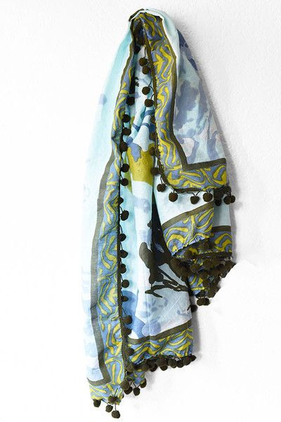 Fair Trade Scarf Olive + Blue $26