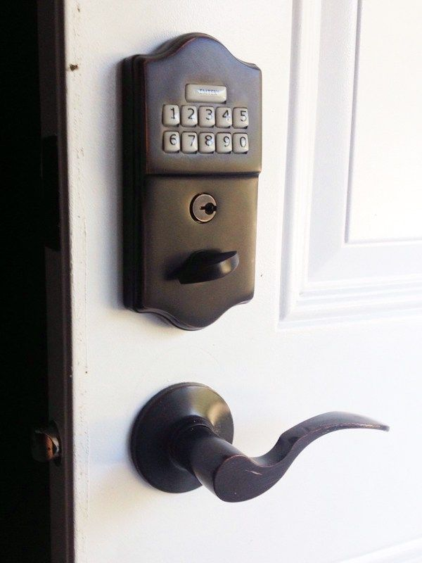 We installed this Emtek Keypad Keyless Lock with Door Reinforcement hardwares in Mississauga, Ontario.