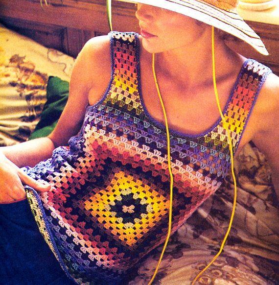 Vintage años 70 cuadrados Granny Tank Top Sexy Boho jersey chaleco Crochet patrón Digital Descargar PDF