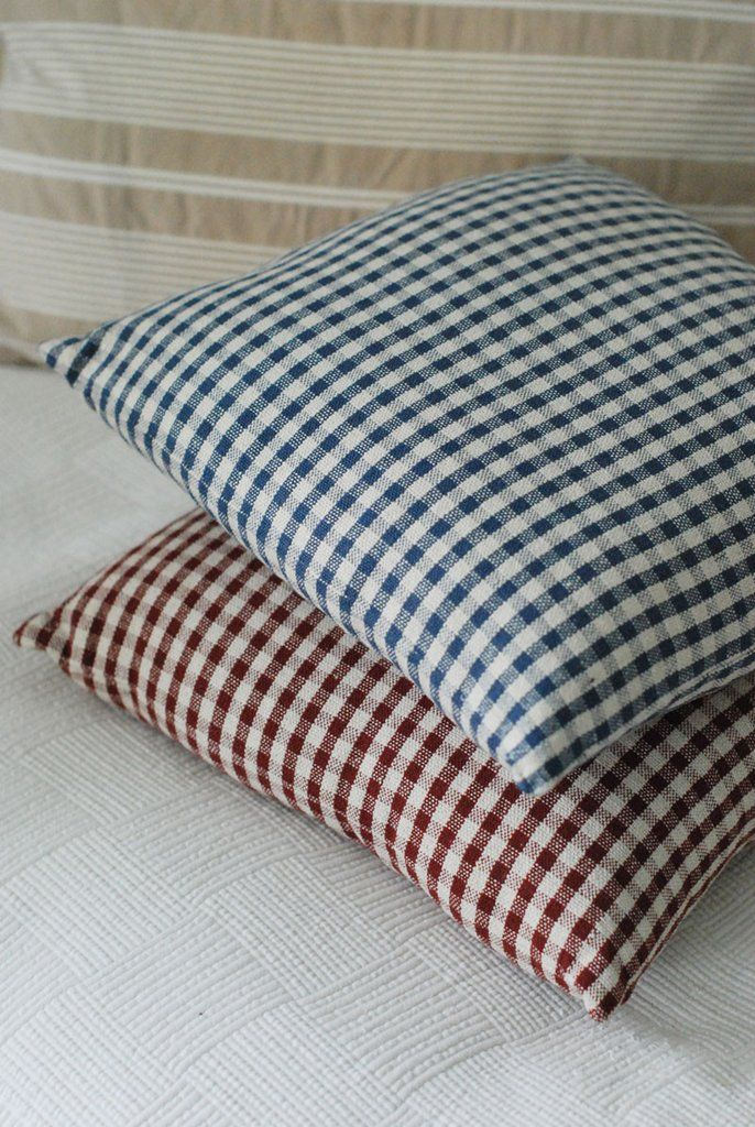 this blue and cream gingham pillow is a country classic perfect for