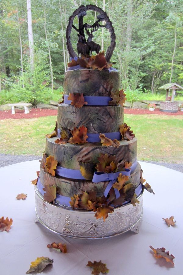 Purple camo wedding cake