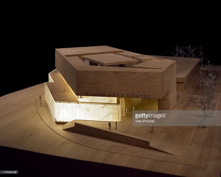 View of building model made in wood and perspex showing entrance to centre with interior lighting, Solstice Arts Centre, Navan, Ireland, Architect: Grafton Architects, 2006.