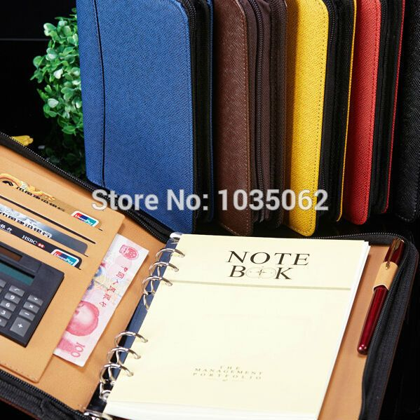 Cheap Notebooks, Buy Directly from China Suppliers:        manager leather zipper notebook and journals filofax agenda with calculator pen holder portfolio organizer