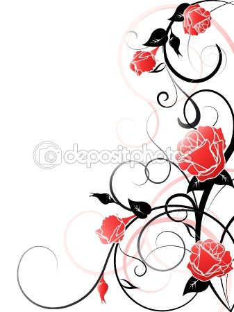 Rose And Vines Tattoos | Vector Rose Background | Stock ...