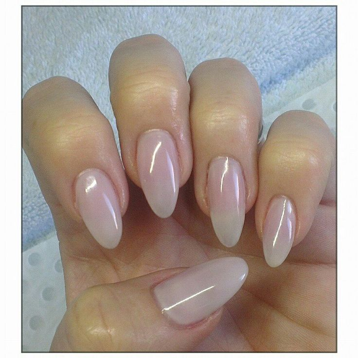 Natural nails with a thin acrylic overlay and Romantique cnd shellac Babyboomer nails