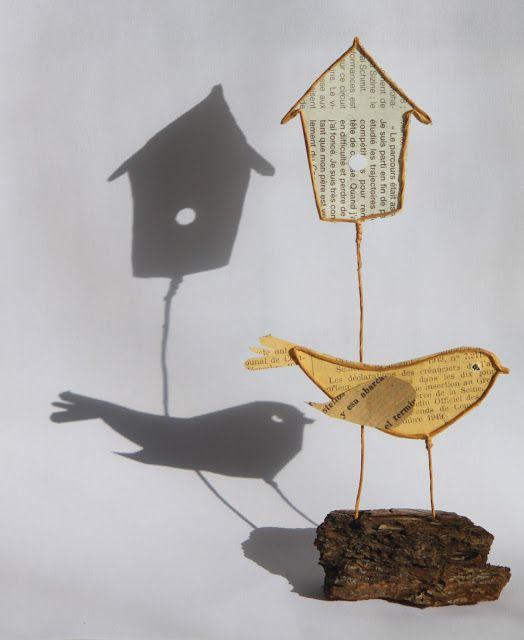 Nichoir et oiseau en découpe de papier collée sous du kraft armé - création Epistyle - (scrap Animaux + Jardin)