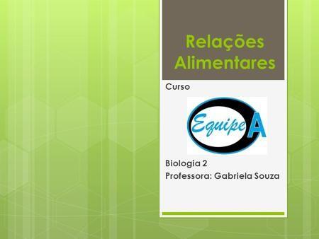 Relações Alimentares Curso Biologia 2 Professora: Gabriela Souza.
