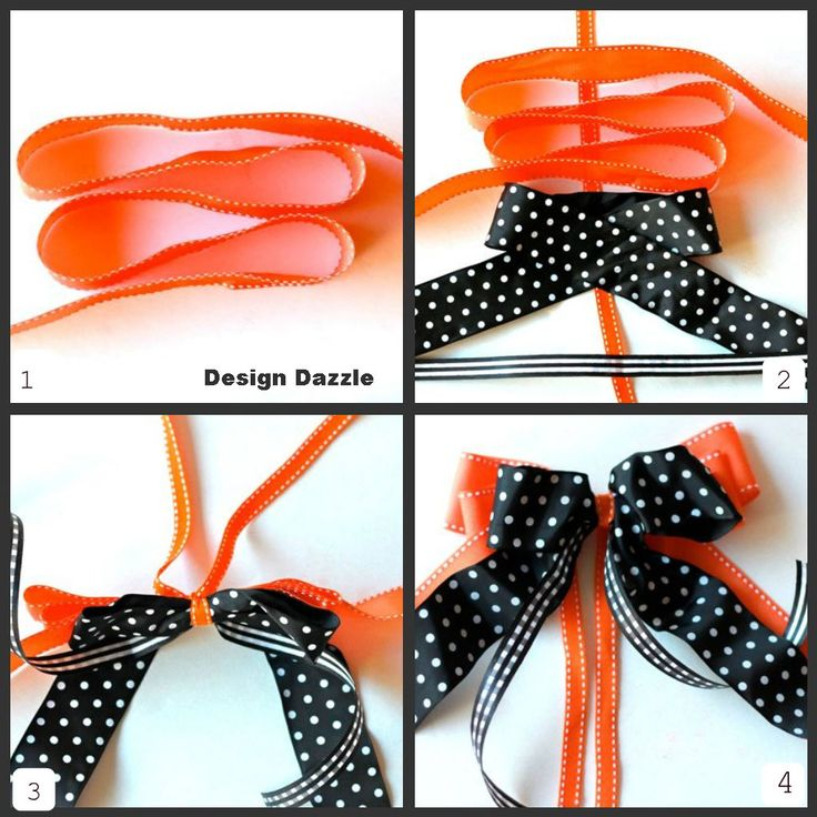 How to Make a Layer Bow    1. Lay the thin orange ribbon vertical (not shown on 1st step).  Place the wide orange ribbon into loops on top of the thin ribbon with one end of the ribbon on the left and the other end on the right.   2. Place the rest of the ribbon as shown.  3. Tightly wrap the thin ribbon around the center point of the ribbon (the ribbon bunches up).  4. Pull at the loops. Fluff and fiddle with the ribbons