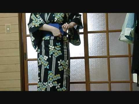 How to tie a Kai no kuchi musubi / Clam's mouth knot with a hanhaba obi [in English]