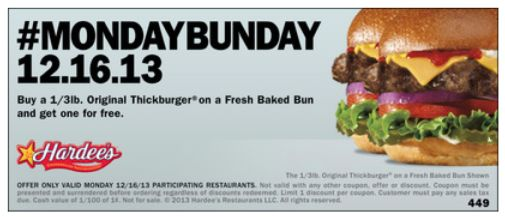 Carl's Jr. : Buy 1 Get 1 FREE Thickburger (12/16 Only!) - http://www.dealiciousmom.com/carls-jr-buy-1-1-free-thickburger-1216/