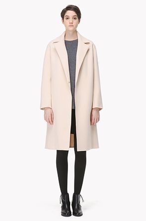 [SYSTEM] Natural seam collar wool cashmere double coat