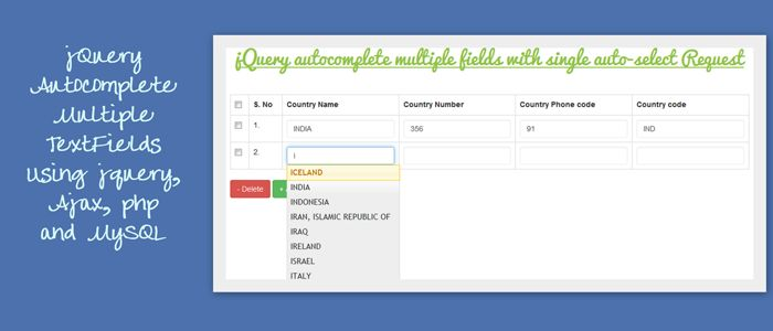 jQuery Autocomplete Mutiple Fields Using jQuery, Ajax, PHP and MySQL...  Demo : http://demo.smarttutorials.net/jquery-autocomplete-mutiple-fields-ajax-php-mysql/  Tutorial : http://www.smarttutorials.net/jquery-autocomplete-multiple-fields-using-ajax-php-mysql-example/