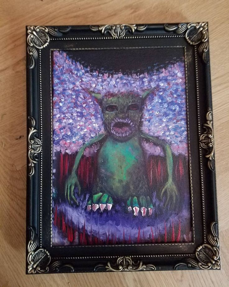 Think I finally found some truly gothie frames for my tiny monster series  Find them @ my new shop! jessicafholt.bigcartel.com  #oilpaintings #monster #gothic #frames #zombie #october #halloween #artforsale #jessicafholt #bigcartel #berlin #artist