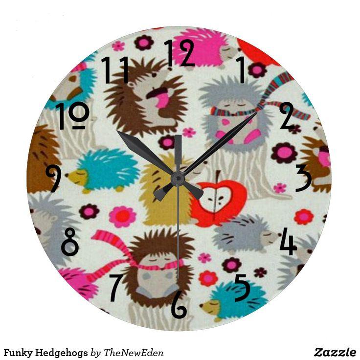 Funky Hedgehogs Large Clock
